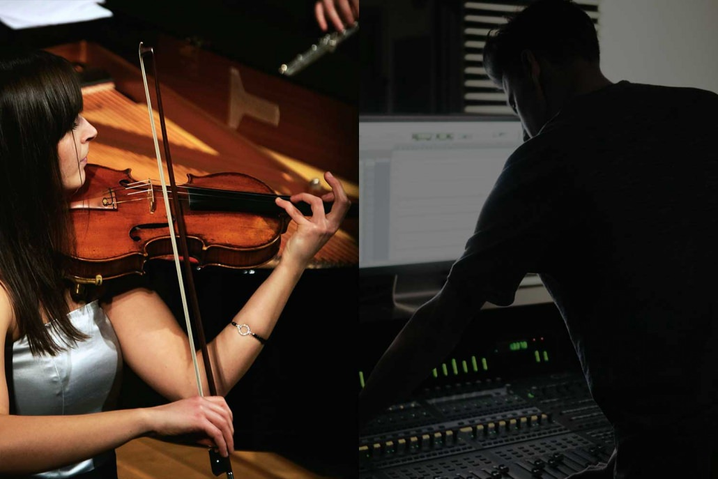 female violinist plays in an orchestra and an audio sound mixer